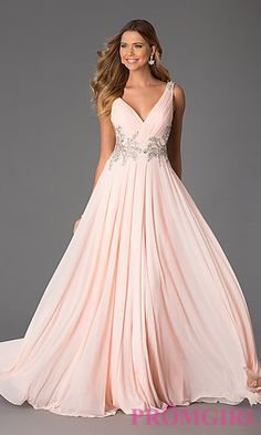 Sleeveless Long V-Neck Gown from JVN by Jovani at PromGirl.com