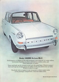 Skoda 1000 MB/De-Luxe Mk II leaflet, UK market in English, undated Car Sales, Brochures, Cars For Sale, English, Marketing, Vehicles, Autos, English English, Cars For Sell