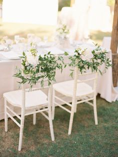 30 Stunning Ways to Infuse your Wedding with Greenery - Chic Vintage Brides : Chic Vintage Brides Wedding Chair Decorations, Wedding Chairs, Wedding Decor, Wedding Ideas, White Chair Covers, Chic Vintage Brides, Chiavari Chairs, Fine Art Wedding Photography, Floral Wedding