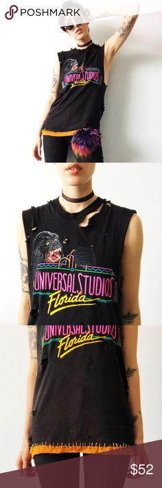 80s Distressed Universal Studios Tee One of a kind and truly incredible vintage distressed muscle tee from Universal Studios circa 1980s with tattered orange silk chiffon and gold safety pin details; size medium; super worn but that's kind of the point Vintage Tops Muscle Tees