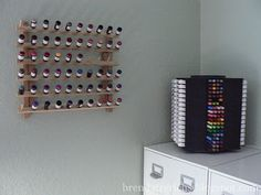 A sewing thread rack to hold sponge daubers -- genius.