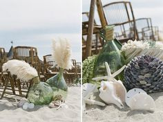Modern, natural beach wedding decor - Braedon Photography + Oh, How Charming Beach Wedding Aisles, Beach Wedding Centerpieces, Beach Ceremony, Ceremony Decorations, Perfect Wedding, Dream Wedding, Hair Wedding, Vintage Beach Weddings, Romantic Weddings