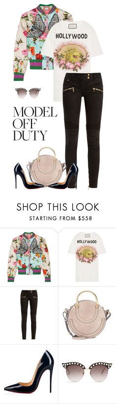 """""""."""" by fashionmonkey1 ❤ liked on Polyvore featuring Gucci, Balmain, Chloé and Christian Louboutin"""