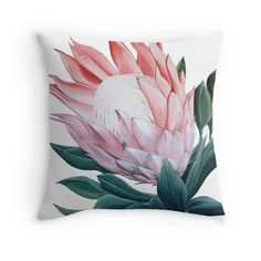 'King Protea Flower Painting' Throw Pillow by Anne-Marie Bloor Protea Art, Protea Flower, Flowers, Canvas Art, Canvas Prints, Art Prints, King Protea, Tropical Decor, Lily Of The Valley
