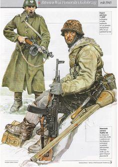 Battaglia di Wal Pomoski, 1945 - Fante polacco armato di mitra russo PPsz 41 e Soldato delle Waffen SS con Sturmgewehr 44 e Panzerfaust