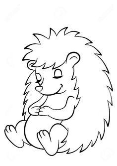 Cute Coloring Pages, Animal Coloring Pages, Coloring Books, Autumn Crafts, Autumn Art, Drawing For Kids, Art For Kids, Hedgehog Drawing, Cute Hedgehog