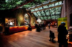 Hudson Hotel - Lobby covered in ivy, New York