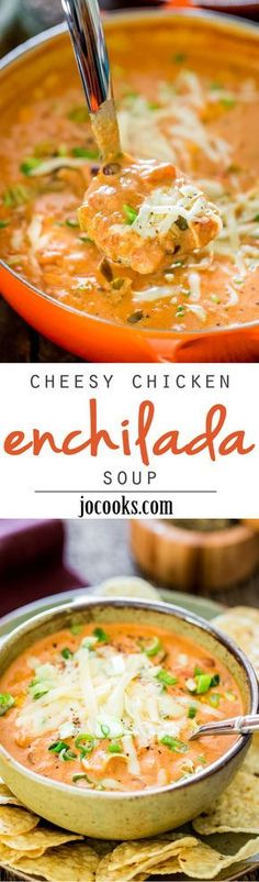 How to make this cheesy chicken enchilada soup. This Creamy Cheesy Chicken Enchilada Soup is a fiesta of flavors full of chunks of chicken, black beans, corn and diced tomatoes, for a complete satisfying and comforting bowl of soup. Slow Cooker Recipes, Crockpot Recipes, Chicken Recipes, Cooking Recipes, Healthy Recipes, Taco Chicken, Mexican Chicken, Chicken Flavors, Chicken Thighs Soup