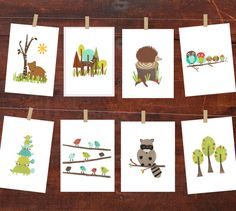 Forest Animal Wall Cards Nursery Wall Art 5x7 by ChildrenInspire