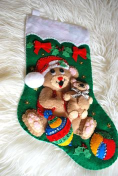 Finished Handcrafted Felt Christmas Stocking  Teddy by AidensLove, $50.00