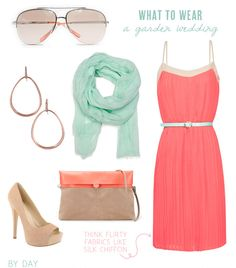 Adorable outfit! Love the mint-colored scarf paired with the coral dress!