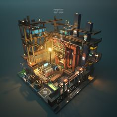 Media preview Isometric Art, Isometric Design, Environment Concept Art, Environment Design, Cube World, Cartoon House, Cyberpunk City, Modelos 3d, 3d Artwork