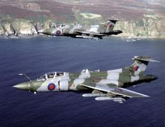 RAF Blackburn Buccaneers carrying Sea Eagle missiles in the maritime strike role. Air Force Aircraft, Ww2 Aircraft, Fighter Aircraft, Fighter Jets, Air Fighter, Aircraft Carrier, Military Jets, Military Aircraft, Blackburn Buccaneer