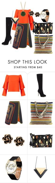 """STATEMENT SKIRT"" by kareng-357 on Polyvore featuring Miss Selfridge, Jimmy Choo, Peter Pilotto, NOVICA, Chantecler, Salvatore Ferragamo and Les Néréides"