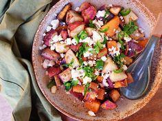 Roast Sweet Potato Medley with Parsley & Crumbled Feta — Runner Beans Runner Beans, Roasted Sweet Potatoes, Fresh Herbs, Bruschetta, The Fresh, Parsley, Feta, Nutrition, Dishes