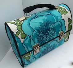 Vintage reproduction victorian easter gift box set by trouvelajoie vintage upcycled mid century wrapping paper covered thermos lunch pail purse with velvet wrapped handle felt lining negle Gallery