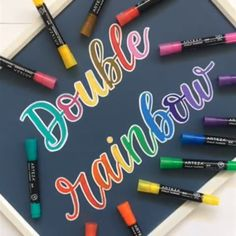Explore a Full Spectrum of Colors🌈- Explore a Full Spectrum of Colors🌈 Let your love of vibrant colors shine with your vivid designs. Get creative and give this technique a try – we'd love to see what you develop with your Liquid Artist Credit: - Hand Lettering Alphabet, Chalk Lettering, Creative Lettering, Lettering Styles, Brush Lettering, Lettering Design, Watercolor Lettering, Calligraphy Handwriting, Calligraphy Letters