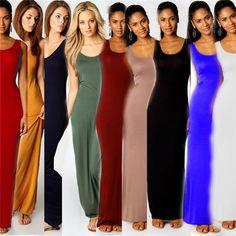 Elegant Women Cotton Summer Sleeveless Vest Maxi Long Dress Black
