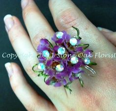 Ring mum - Purple Wax with silver and rhinestone accents