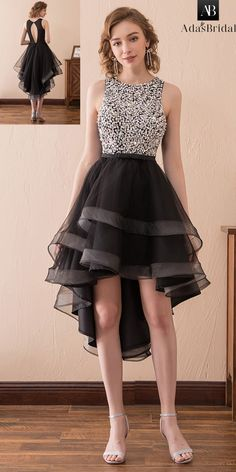 In Stock Stunning Tulle Jewel Neckline Hi-lo A-line Homecoming Dress With Rhinestones & Beadings