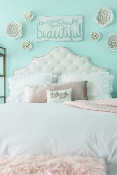 "Girls ""Tween"" or Pre-Teen Room decorated in aqua, blush and rose gold. Girls ""Tween"" or Pre-Teen Room decorated in aqua, blush and rose gold. Plenty of easy, affordable budget girls room ideas. Would be perfect for a baby girl nursery too! Aqua Bedrooms, Teenage Girl Bedrooms, Big Girl Rooms, Room Girls, Tween Girl Bedroom Ideas, Preteen Girls Rooms, Preteen Bedroom, Girls Room Paint, Teen Girl Rooms"