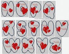 amour - love - alphabet - coeur -  point de croix - cross stitch - Blog : http://broderiemimie44.canalblog.com/