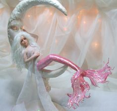 OOAK art doll pregnant mermaid man in the moon motherhood  fantasy polymer clay sculpture fairy  IADR  PRFAG free shipping. $329.00, via Etsy.
