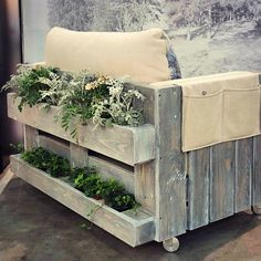 LOVE THIS IDEA!! PLANT HOLDERS ON BACK OF OUTDOOR WOODEN FURNITURE .