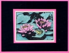 Water Lilies and Frog                        (Heather Taylor)                            Unmounted Rubber Stamp