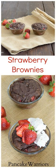 Strawberry Brownie reciipe - healthy, low fat, single serve brownie is vegan, gluten free and packed with protein! No guilt!