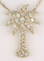 YELLOW GOLD DIAMOND PALMETTO PENDANT