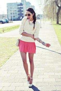 Shop this look on Kaleidoscope (pumps, sweater, miniskirt, shirt, bangle, necklace, bag)  http://kalei.do/VxV4GwF8NbVpfD0F