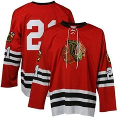 Mens Chicago Blackhawks Stan Mikita Mitchell   Ness Red Throwback Authentic  Vintage Jersey 1de086893