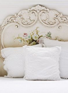 Shabby Chic--be still my heart!  What a romantic headboard.  (Insert pleasant sigh)