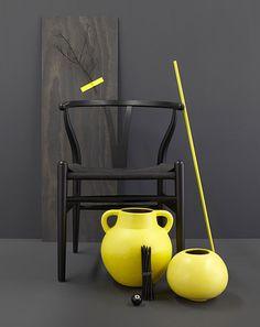 Yellow and black shoot for MRD Home Vintage Interior Design, Yellow Interior, Mid Century Modern Design, Furniture Arrangement, Color Pop, Color Yellow, Yellow Black, Wishbone Chair, Midcentury Modern
