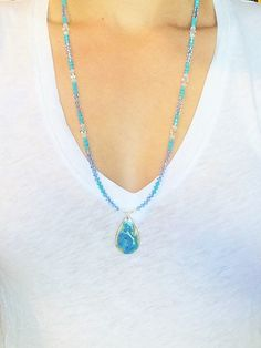 Turquoise Swirl Beaded Pendant Necklace by InstinctBoutique