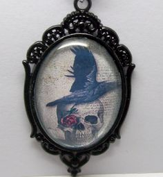Raven and Skull Crystal Beaded Charm Necklace by freakchicboutique on Etsy