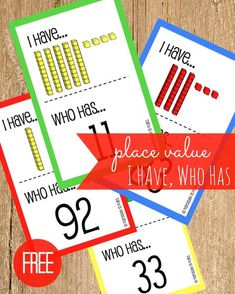 Free Place Value I Have, Who Has - Playdough To Plato FREE I Have, Who Has Place Value Game! A fun low-prep way to work on place values! Great for math centers! Teaching Place Values, Teaching Math, Kindergarten Math, Learning Place, Kids Learning, Fun Math, Math Activities, Place Value Activities, Math Math