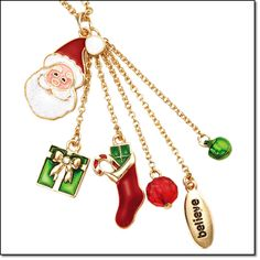 "Holiday Charm Necklace - The Avon Holiday Charm Necklace is set in goldtone, 16 1/2"" in length and comes with a 3"" extender. The charms include a Santa, Present, Stocking, Believe charm, a red bead, and a green bead. Buy Avon holiday jewelry online at http://eseagren.avonrepresentative.com/"