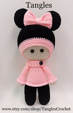 Minnie Big Head Doll Anigurumi 15 Tall Made to This listing is for the Minnie Big Head Baby Doll. This doll sold out and is now a made to order listing. The hat on this one is sewn onto the head of the doll. Ready to ship items go out within business days Crochet Amigurumi, Crochet Doll Pattern, Amigurumi Doll, Amigurumi Patterns, Crochet Dolls, Doll Patterns, Crochet Baby, Crochet Patterns, Baby Knitting