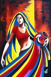 Pitcher Girl - Creative Art in Painting by Tallita Tyagi in Portfolio Tallitas Studio at Touchtalent Rajasthani Painting, Rajasthani Art, African Art Paintings, Modern Art Paintings, Oil Paintings, Abstract Paintings, Landscape Paintings, Painting Of Girl, Watercolor Painting