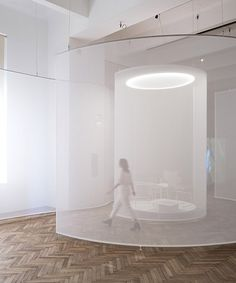 some place studios' ethereal screens lead viewers through exhibition in vienna Display Design, Booth Design, Banner Design, Exhibition Space, Exhibition Stands, Exhibition Booth, Wall Text, Interior Architecture, Interior Design