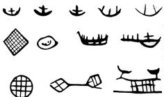 Boats and fishing tools in Sámi art. [Drawings of Saami symbology used on ritual drums & possibly in prehistoric rock art in northern Eurasia. Viking Embroidery, Folk Religion, Drum Patterns, Norse Tattoo, Fishing Tools, Viking Art, Book People, Fish Art, Art Nouveau
