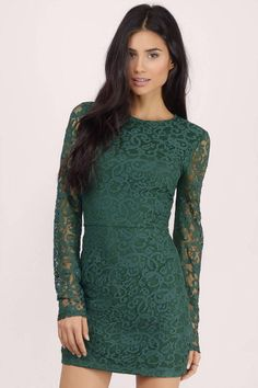 Cute green long sleeve bodycon dress with lace details. Pair with heels for your next night out!