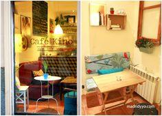 Café Kino- Lavapiés Lo que lo hace único y especial, es que es el único café de Madrid con una salita de cine a la berlinesa: sofás para 12 y una selección exquisita de pelis clásicas y contemporáneas dentro de un ciclo temático que cambia cada mes, por sólo 2€ la entrada.