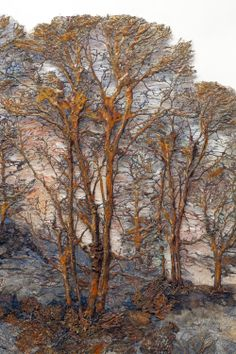 """Amazing chemically manipulated fabric. """"Distant Forest 4"""" by Lesley Richmond."""