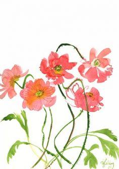 Poppy Talk - watercolor flowers by Gretchen Kelly, painting by artist Gretchen Kelly