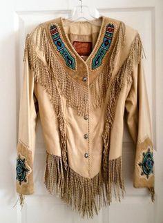 Southwestern Leather Jacket with twisted fringe