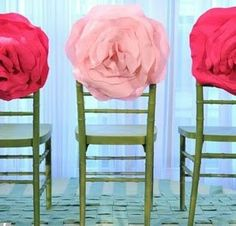 TO DO: Create gorgeous huge  #fabric #flowers to adorn the backs of chairs...wouldn't little girls love these on the backs of their chairs at a Birthday Party? As a take-home favor