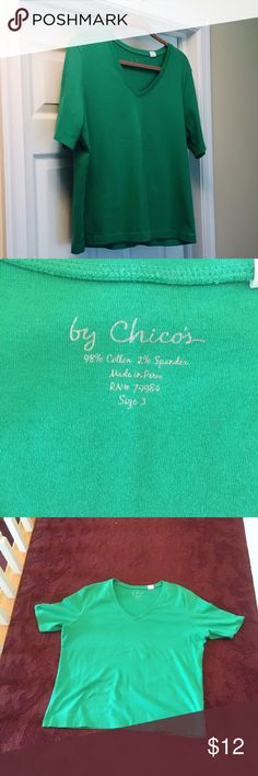 Chico's pretty green t-shirt. Never worn, size 3 Chico's pretty green t-shirt with v-neck. Never worn, size 3, which is 16 Chico's Tops Tees - Short Sleeve